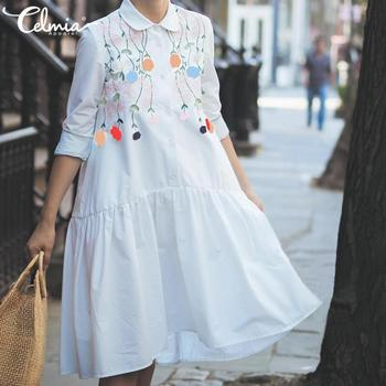 Celmia Plus Size Sundress 5XL Women Fashion Shirt Dress Vintage Flower Printed Casual Loose Long Sleeve Buttons Pleated Vestidos plus embroidered mesh insert pleated sleeve bardot dress