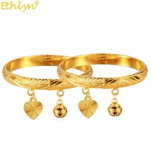 Детские браслеты браслет золотого цвета колокольчики подвеска в виде сердца для маленьких мальчиков и девочек ювелирные браслеты на щикол...