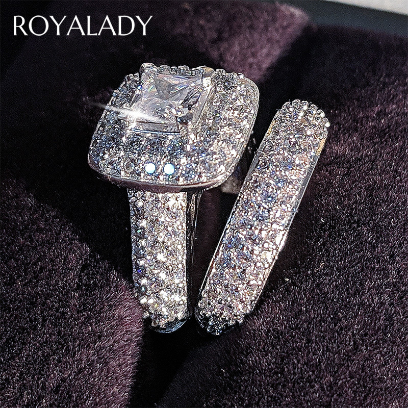 Luxury Big Square Zircon Wedding Ring Set Band For Bridal Girls And Women Lady Love Couple Crystal Engagement Rings Pair Jewelry