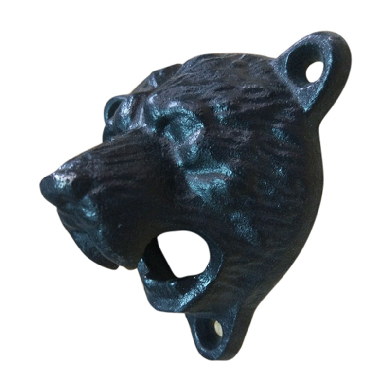Black Grizzly Bear Beer Bottle Opener Cast Iron Lodge Cabin Wall Mounted Pub Bar Abridor Bottle Opener Keychain
