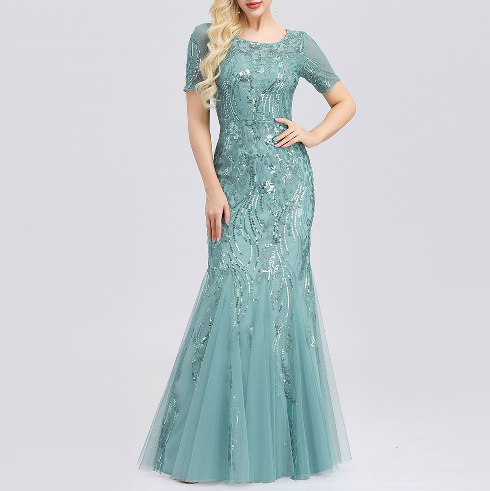 Embroidered beaded Fabric   Prom     Dresses   Sugar Color O-Neck Short Sleeve Elegant Little Mermaid   Dresses   Formal Party Gowns 2019
