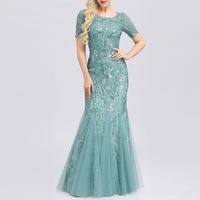 Embroidered beaded Fabric Prom Dresses Sugar Color O Neck Short Sleeve Elegant Little Mermaid Dresses Formal Party Gowns 2019