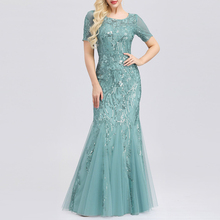 Embroidered beaded Fabric Prom Dresses Sugar Color O-Neck Sh