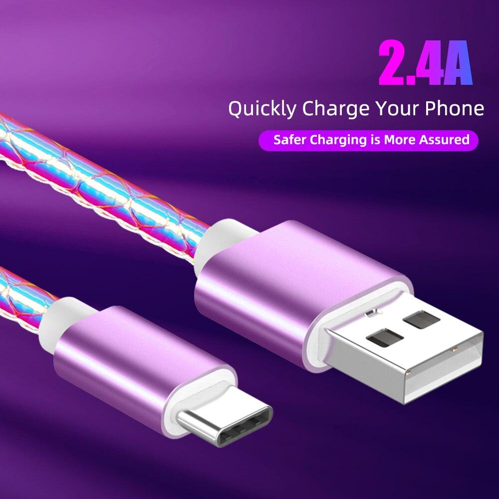 Farbe Gradienten USB Kabel 2,4 EINE Schnelle Lade Kabel QC 3,0 USB C Micro usb Handy Datenkabel für samsung A50 S9 Huawei P30