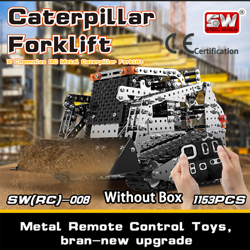 DIY Stainless Steel Assembled SW (RC) 008 Tracked Forklift 2.4G Remote Control 10 Channels Puzzle Building Block Toy