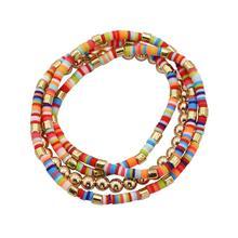 2020 Charm Bracelet Bohemian Metal Bead Multi-layer Rice Color Block Elastic Jewelry Wholesale