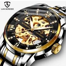 Lavaredo 최고 브랜드 럭셔리 레트로 스테인레스 스틸 남자 시계 스포츠 방수 자동 기계 해골 시계 쿨 디자인 A5