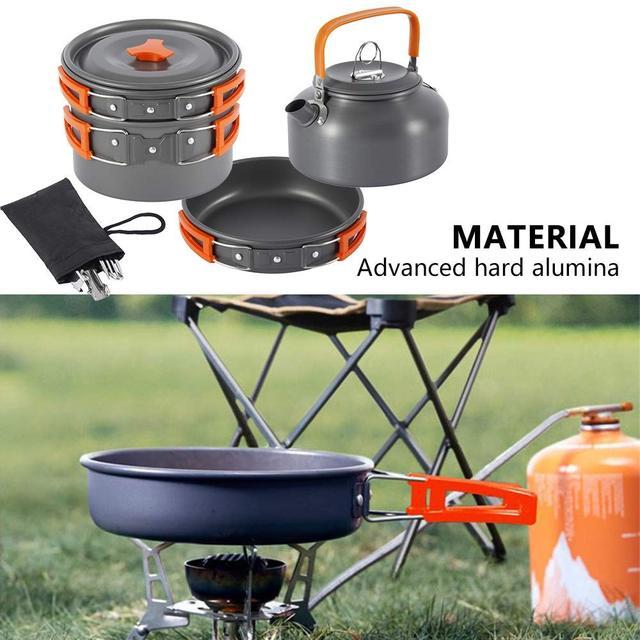 Kit de panelas acampamento ao ar livre conjunto de cozinha de alumínio chaleira água pan pot viajar caminhadas piquenique churrasco utensílios de mesa equipamentos 5