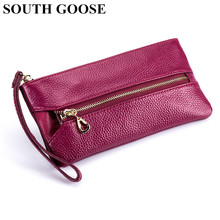 SOUTH GOOSE Women Genuine Leather Day Clutches Multifunctional Organizer Bag Lady Large Capacity Phone Pouch Coin Purse Key Case(China)