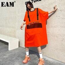EAM – robe à poches grande taille pour femmes, noire et Orange, col rond, demi-manches, coupe ample, à la mode, nouvelle collection printemps automne 2021, 1DD6148