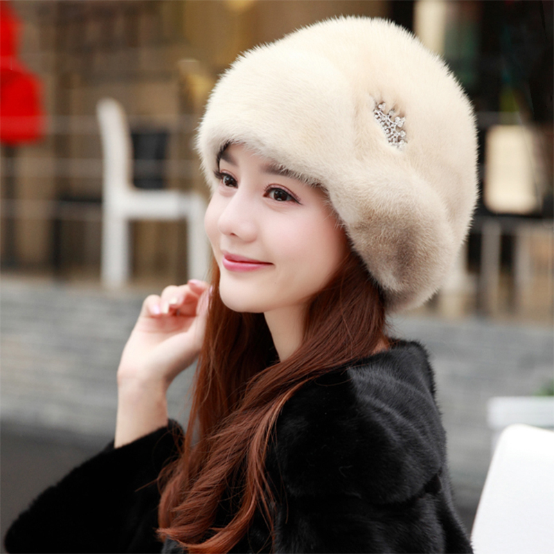2-Women's New Winter Mink Fur Hats 2020 Ladies Fur Hats New Fashion Ear Protection Crown Hats Winter Warm Fur Straw Hats смотреть на Алиэкспресс Иркутск в рублях