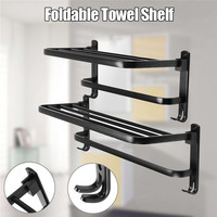 Xueqin 490/590mm Alumimum Black Foldable Towel Holder Towel Shelf Wall Mounted Bathroom Towel Rack Storage Hanger Shelf