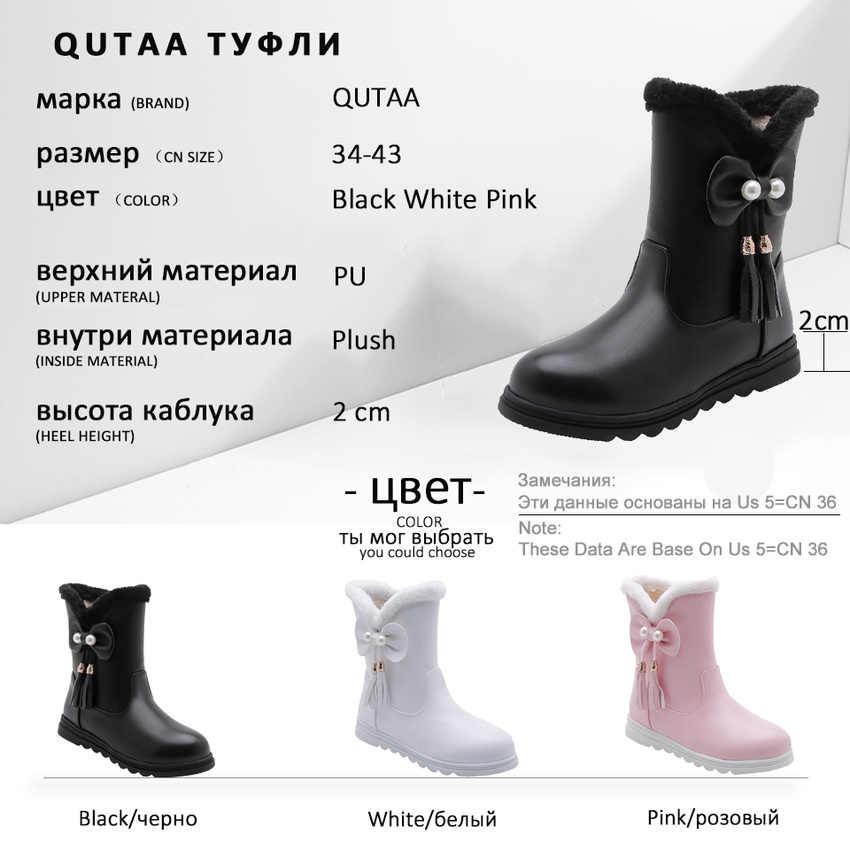 QUTAA 2020 Yuvarlak Ayak Kadın Ayakkabı üzerinde Kayma Platformu PU Deri Kar Botları Tatlı Kelebek-düğüm Püskül Orta Buzağı çizmeler Büyük Size34-43