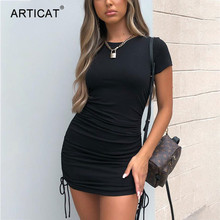 Articat Sexy Bodycon Ribbed Knitted Dresses For Women Short