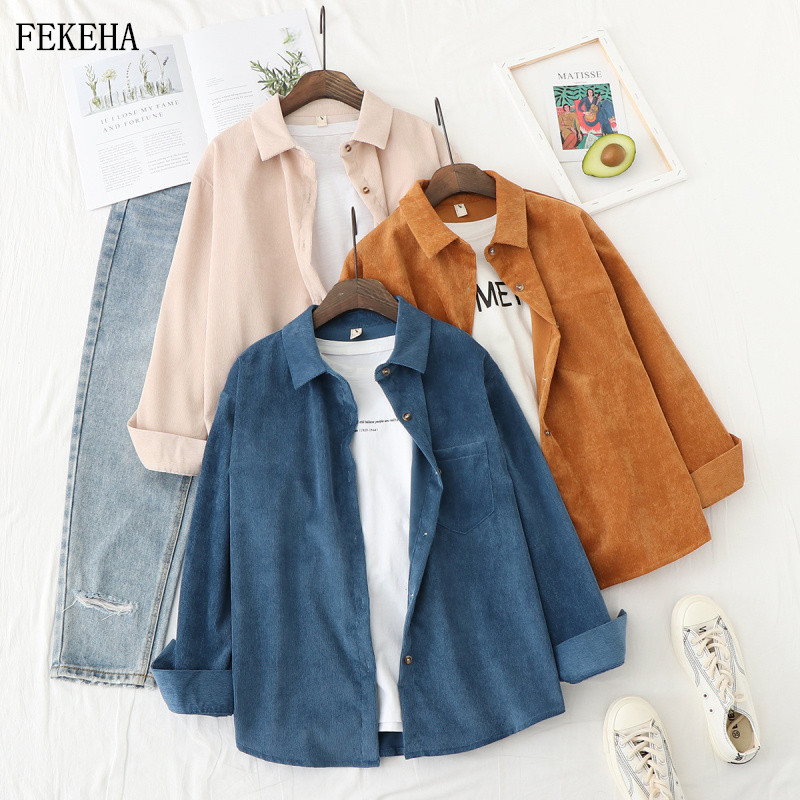 Autumn Jackets Women Corduroy Shirts Loose Long Sleeve Solid Lady Tops Casual Outwear Female Clothes(China)