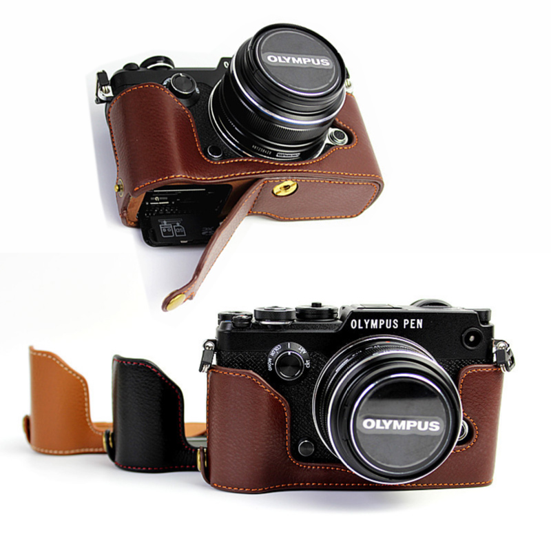 Genuine Real Leather Half case Cover For Olympus PEN F PEN-F protective shell With Battery Opening