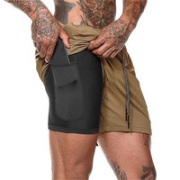 Khaki-Summer Running Shorts Men 2 in 1 Sports Jogging Fitness Quick Dry
