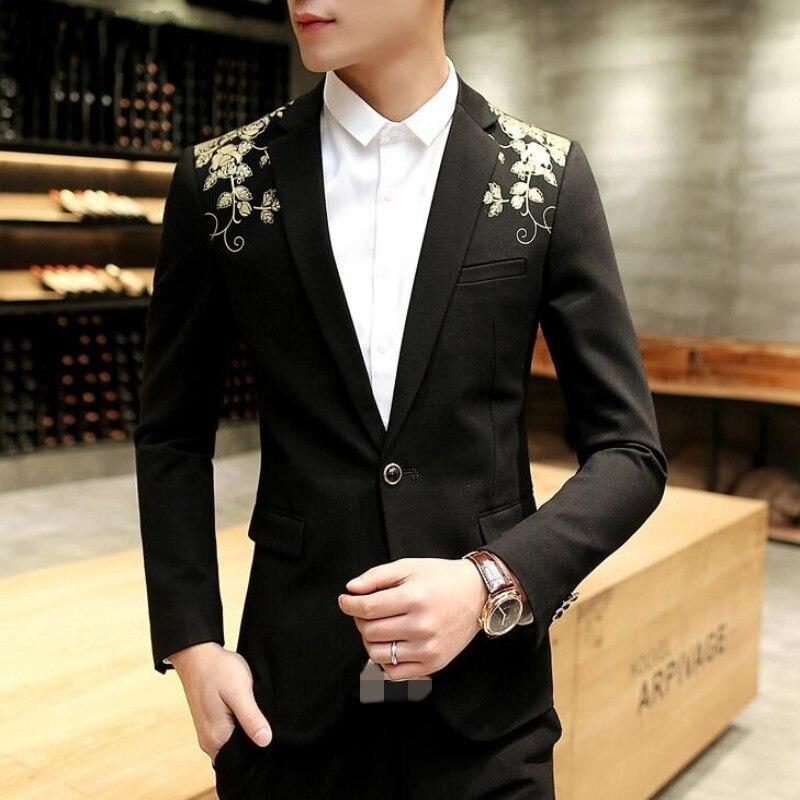 Floral Print Men's Casual Blazer Slim Fit Blazer One Button Coat Black Fashion Mens Suit Top Quality Mens Blazer Terno Masculino