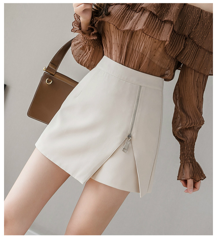 Black Apricot High Waist Irregular Zipper Shorts 6