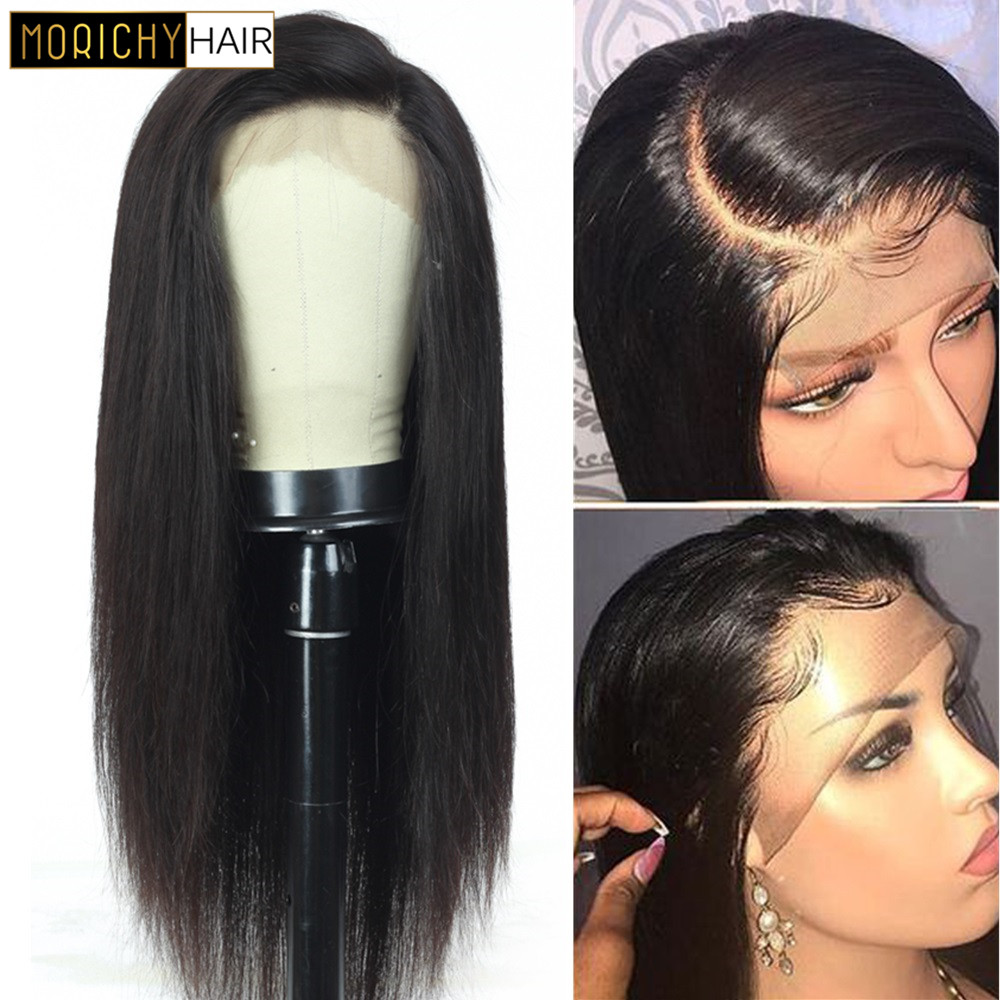 Straight Lace Front Human Hair Wigs Pre Plucked Hairline 150 Density 13x4 Lace Front Wig 8-28 Inch Brazilian Remy Wig Natural