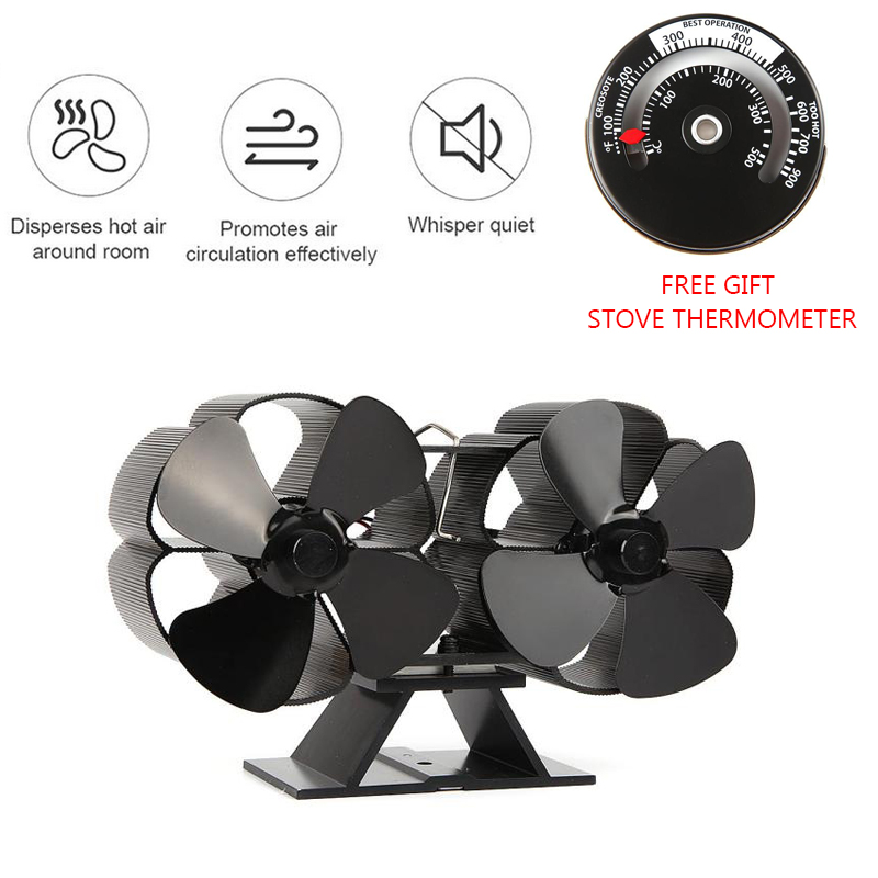 Fireplaces Stove Fan-Double Motor-8 Blades Heat Powered Fireplace Fan With Stove Thermometer for Home Fireplace Wood/Log Burner