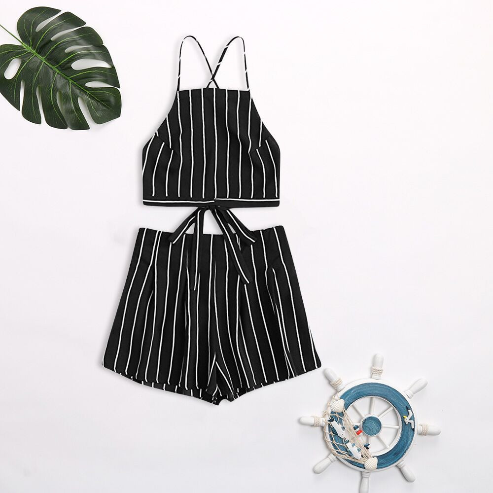Women Elegant Stripe Print Knitted Crop Top And Shorts Two Pieces Set Casual High Waist Drawstring Shorts Female Outfits #C