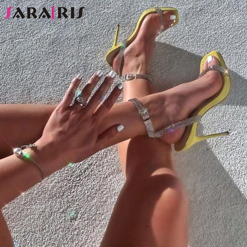 SARAIRIS Summer Party Wedding Sandals Ins Hot Sexy Thin High Heels Sandals Women Fashion Crystal Decorating Shoes Woman