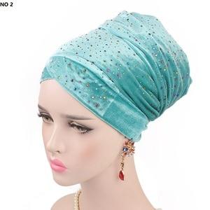 Image 3 - Helisopus 2020 New Muslim Long Tail Scarf Hat Women Starry Velvet Turban Chemo Cap Hair Accessories Women Headwraps