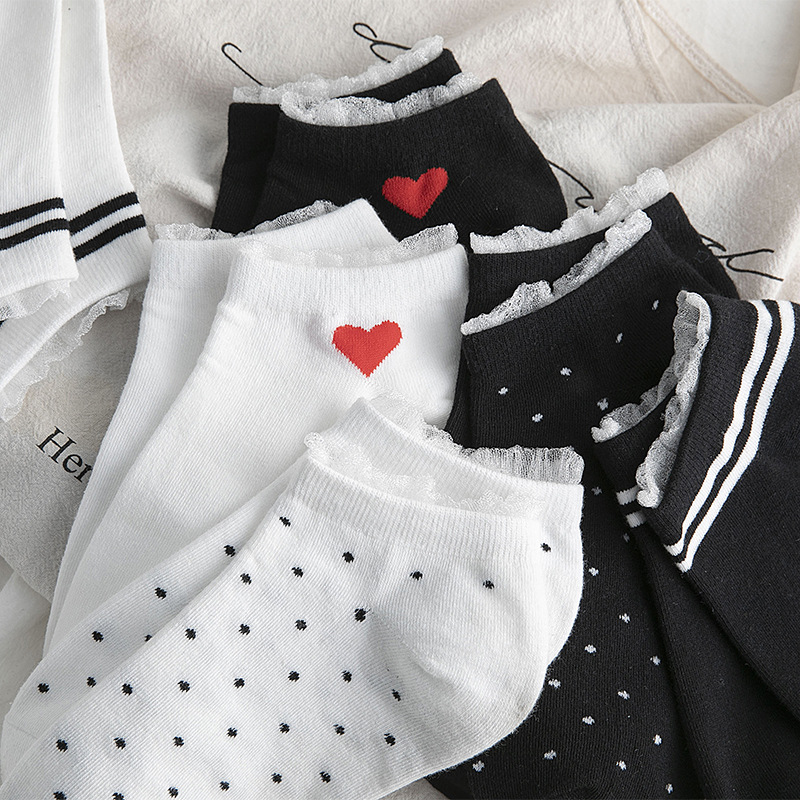 Women Socks 2020 Spring New Striped Heart Cotton Socks Color Lace Cute Dots Casual Breathable White Women Fashion Lady Socks
