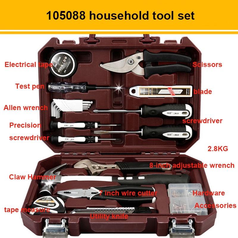 Набор ручных инструментов бытовыми ремонтный набор инструментов с Пластик ящик для инструментов чехол отвертка с гаечным ключом Инструменты для ремонта автомобилей комплект - Цвет: 105088
