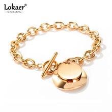 Lokaer-pulsera de eslabones y cadena de acero inoxidable para mujer y niña, Círculo de amor con etiqueta redonda, moda Bohemia, B17095