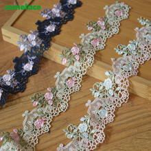(3Yds/Lot)6.5cm Wide Blue,Pink etc...Mixed Hollow Floral High Quality Venise Lace DIY Handmade Lace Accessories Textile Fabrics
