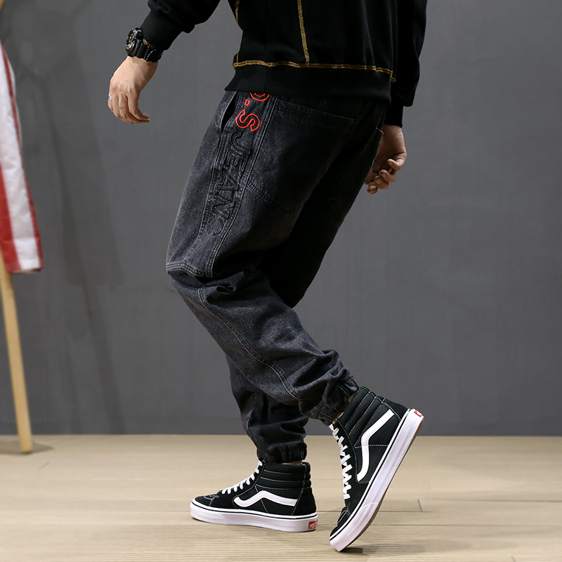 Autumn Fashion Vintage Men Jeans Loose Fit Big Size 28-42 Embroidery Harem Jeans Men Designer Hip Hop Black  Jogger Jeans Homme