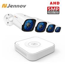 Jennov 5MP 4CH กล้องวงจรปิด Scurity ชุดการเฝ้าระวังวิดีโอ IP กลางแจ้งการตรวจสอบวิดีโอ DVR AHD กล้องระยะไกลดู P2P HD