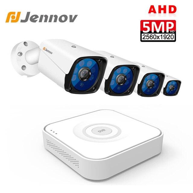 Jennov 5MP 4CH Telecamera a Circuito Chiuso Scurity Sistema Kit Telecamera di Sorveglianza Ip Outdoor Video Dvr di Sorveglianza Ahd Fotocamera Vista a Distanza P2P hd