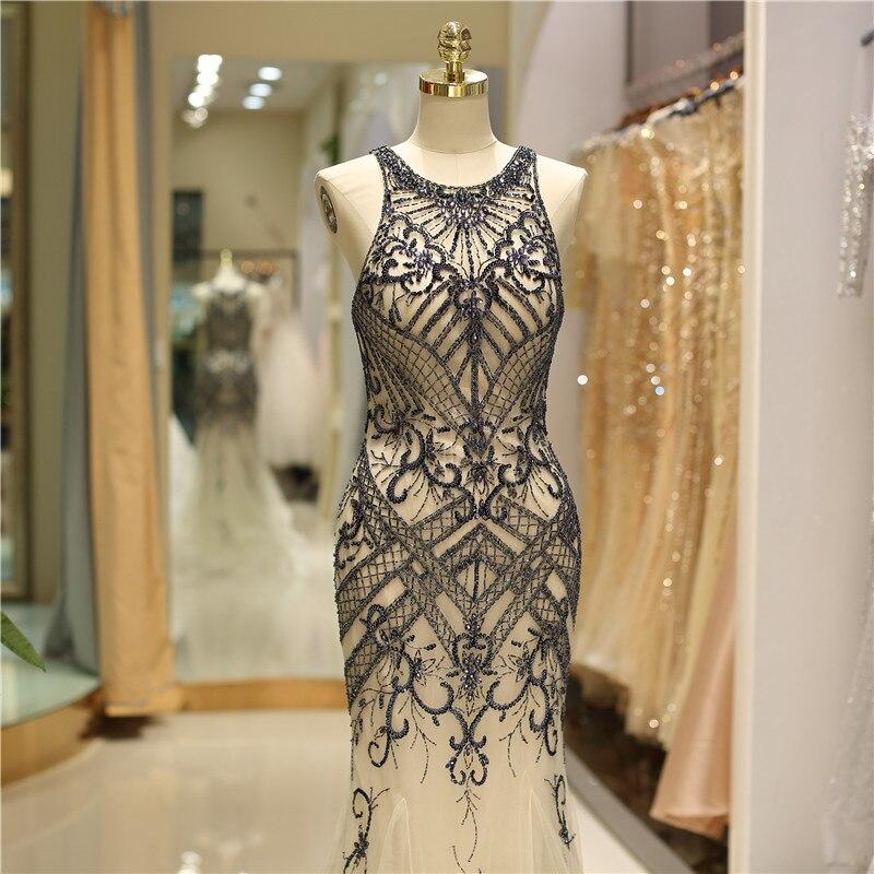 2020 nouveau Design perlé pleine sirène robes de bal de haute qualité mince ajusté célébrité Tulle dames robes de soirée brillant