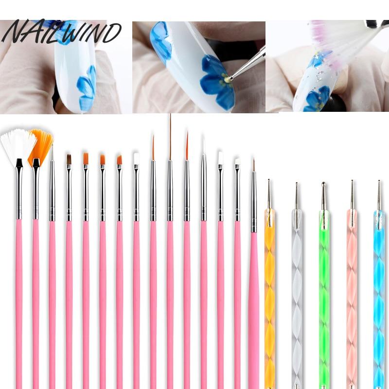 Набор кистей для маникюра, гель Nailwind, для наращивания ногтей, акриловая пудра, 3D Рисунок, резьба по линии, набор кистей для нейл-арта
