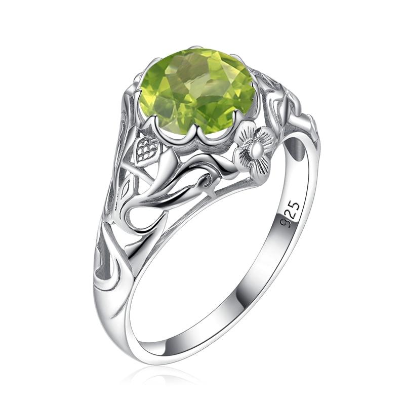 Szjinao Genuine 925 Sterling Silver Women Rings Boho Flower Peridot Gemstone Ring Handmade Fashion Jewelry Wedding Gift 2020 New