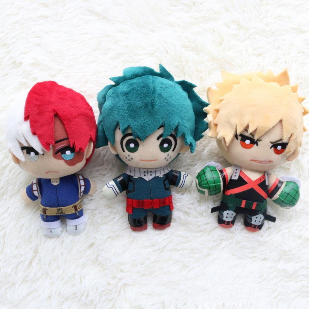 3pc 15CM Japanese Anime My Hero Academia Izuku Midoriya Katsuki Bakugou Shouto Todoroki Plush pendant toy Soft Stuffed doll Gift