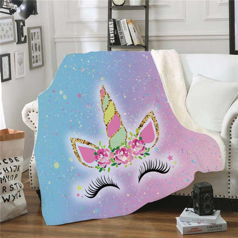 XC USHIO moda unicornio de dibujos animados de felpa manta adultos niños invierno cálido mullido Manta polar con diseño de Navidad