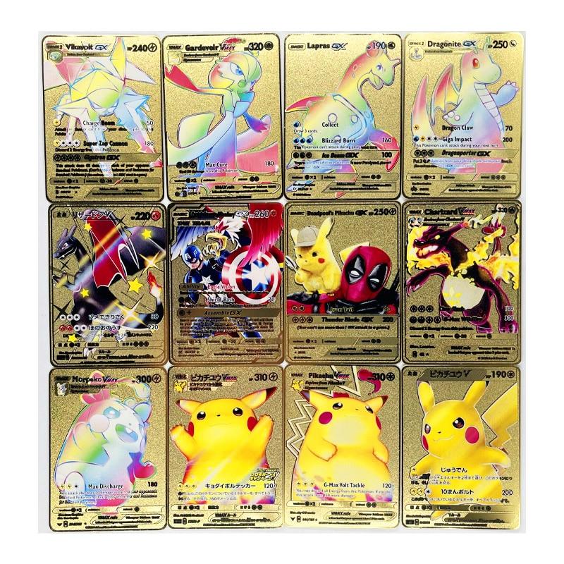 Pokemon New Charizard Pikachu GX MEGA Gold Metal Card collezione Super Game carte Anime giocattoli per bambini regalo di natale