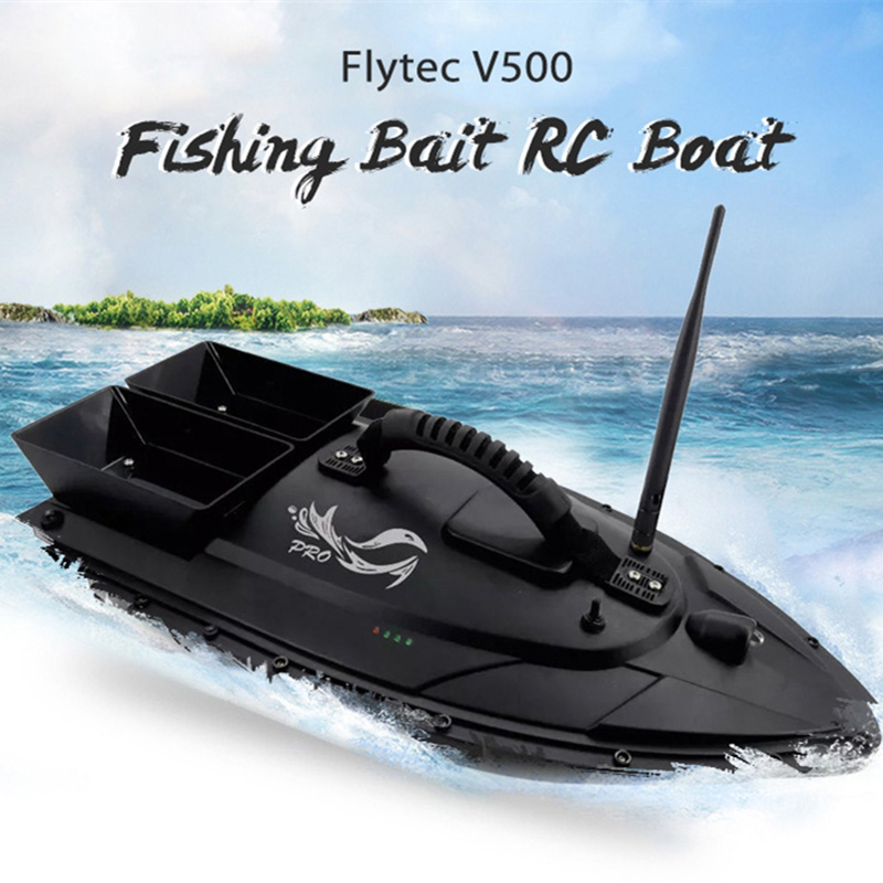 Flytec V500 50cm Fishing Bait RC Boat 500M Remote Control Fish Finder with Double Motor 5.4km/h RC Speedboat Outdoor Toy Gifts image