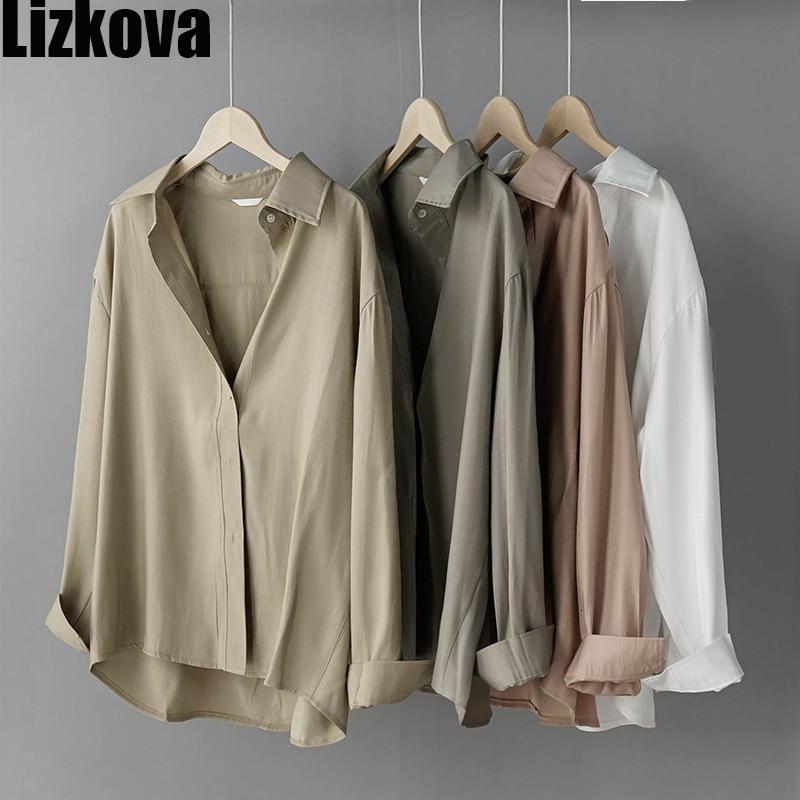 2020 White 80% Cotton Offcial Blouse Women Shiner Long Sleeve Casual Shirt Spring Elegant Lapel Ladies Tops 8888