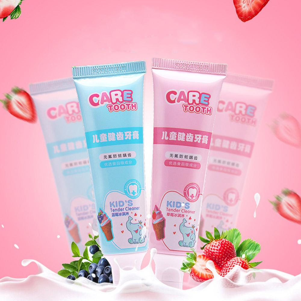 Kids Toothpaste Anticavity Cleaning Toothpasts Fluoride Free Blueberry or Strawberry Flavor Teeth Cleaning Oral Care