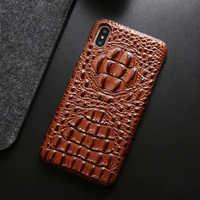 Dernière Couverture Arrière En Cuir Véritable étui pour iphone Xs Max 7 8 Plus Luxe 3D Motif de Peau De Crocodile Dur housses pour iphone 11 Pro