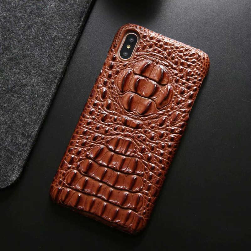 最新の本革バックカバーケースのための iphone Xs 最大 7 8 プラス高級 3D ワニ皮パターンハードケース 4s iphone 11 プロ最大の携帯電話保護ケース