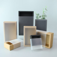 5pcs/ 10pcs/ kraft paper gift box PVC transparent window black box packaging box candy wedding exquisite black card display box