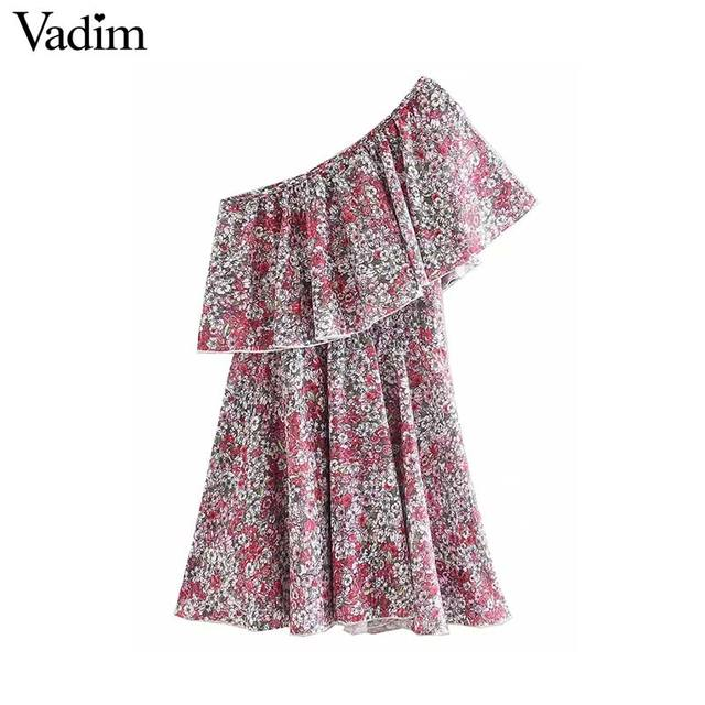 Vadim 女性ファッション花柄ミニドレスノースリーブ弾性ウエスト a ラインの女性のカジュアルフリルドレス vestidos mujer QD163