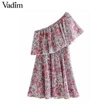 Vadim נשים אופנה פרחוני הדפסת מיני שמלה ללא שרוולים אלסטיים מותן קו נשי מזדמן קפלי שמלות vestidos mujer QD163