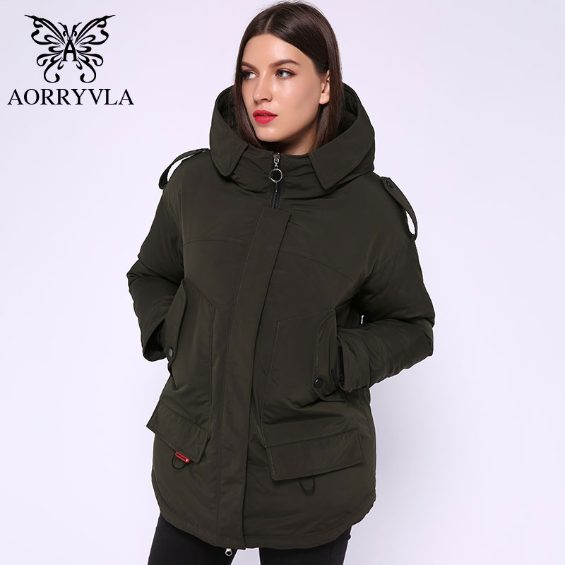 AORRYVLA 2019 Winter Down Jacket Woman Hooded Parka Jacket Short Thick Warm Bio Down Mini Parker Coat Women's Fashion Jacket